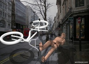 a [city] backdrop.a 100 inch tall   bicycle.the frame of the bicycle is white.the tire of the bicycle is white.the bicycle leans 90 degrees to left.a 100 inch tall man is right of the bicycle.the man leans 90 degrees to back.