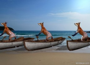 [sea] backdrop. [sea] sky. 1st small rowboat is -.2 feet above the ground. 1st fox is -1.5 feet above the rowboat and -4 feet in front of it.  2nd small rowboat is -3 feet east of 1st rowboat. 2nd   fox is -1.5 feet above the rowboat and -4 feet in front of it.  3rd small rowboat is -3 feet east of 2nd rowboat. 3rd fox is -1.5 feet above the rowboat and -4 feet in front of it.  The rowboats face northeast. The foxes face east. The foxes lean 45 degrees to the back.