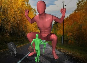 a 1st 53 inch tall super red mannequin.sky is super red.a 2nd 25 inch tall malachite green mannequin is in front of the 1st mannequin.the 2nd mannequin is facing north.a 3rd 15 inch tall malachite green mannequin is  -40 inch in front of the 2nd mannequin.the 3rd mannequin is facing north.a 14 inch tall gray  pig is 14 inch left of the 2nd mannequin.the pig is -30 inch in front of the 2nd mannequin.the pig is facing southeast.a 5 inch tall handbag is -14.5 inch above the 2nd mannequin.the handbag is facing southwest.the handbag is -3 inch left of the 2nd mannequin.