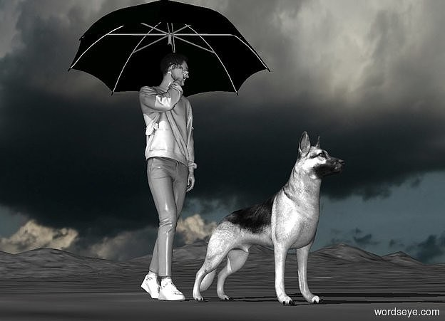 Input text: a 75 inch tall gray teenager.sky is  cloud.sky is 3000 feet tall.ground is [asphalt].a gray german shepherd is in front of the teenager.a a 60 inch tall black umbrella is -40 inch above the teenager.