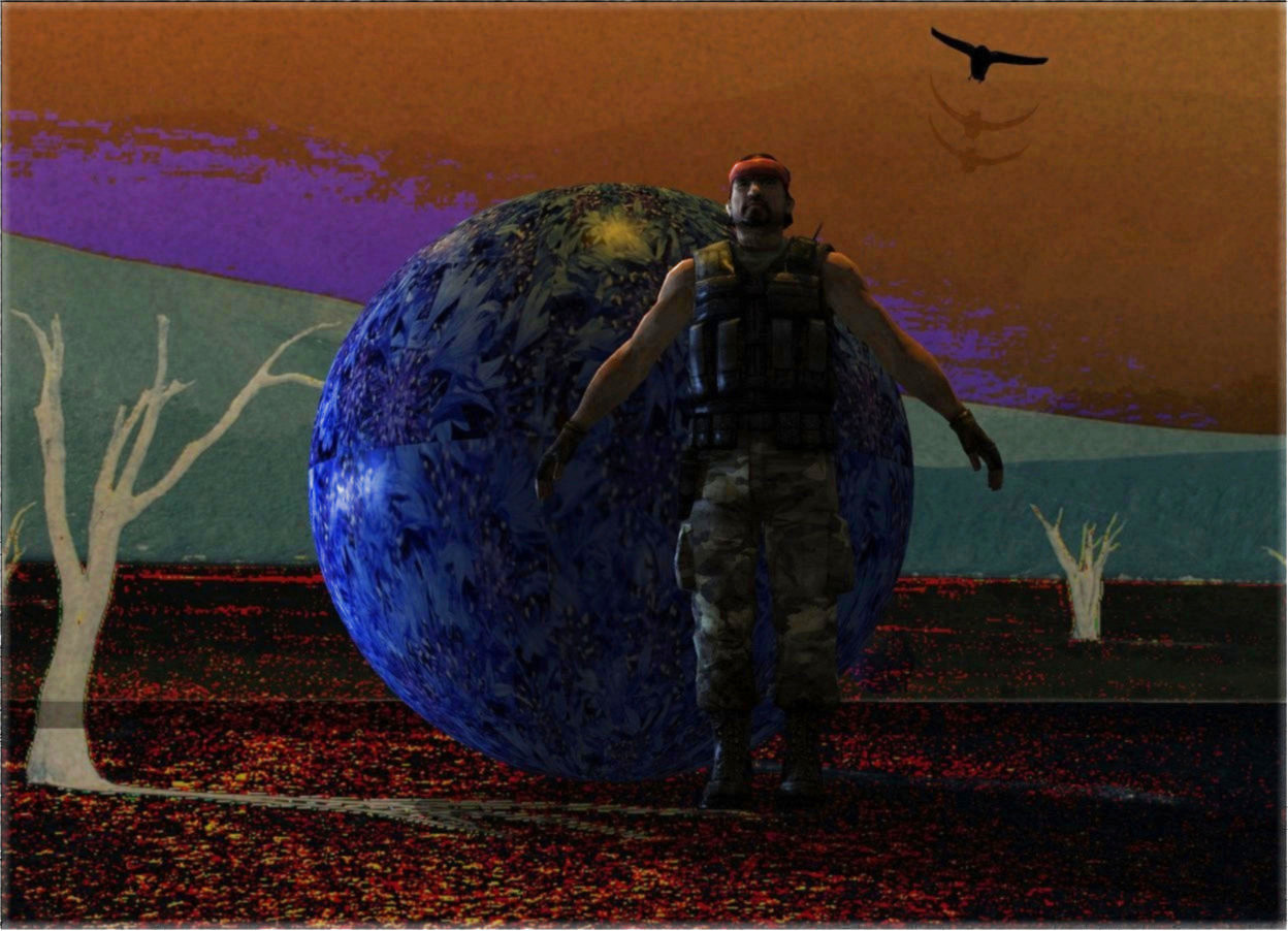 Input text: A pattern sphere is 60% dark. Backdrop is -108% dark. Camera light is black. A 10 inch high man is -6 inch right of and in front of the sphere. Azimuth of the sun is 320 degrees. The sun is amber. 2 cornflower blue lights are 2 feet left of the sphere. A clear wall is 10 feet behind the sphere. An orange light is behind and 10 feet above the sphere. A black bird is 10 feet behind and right of and 4 feet above the man. It is leaning left.