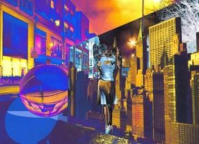 a 2300 inch tall shiny city.. sky is 5000 feet tall and 3999 feet wide and 3000 feet deep.a 2000 inch tall clear sphere is 1000 inch right of the city.a 2000 inch tall  woman is 3000 inch left of the sphere.backdrop is 50% shiny.sky is orange.camera light is igloo blue.