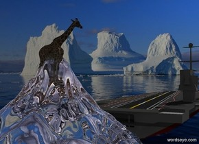 A giraffe is in a clear short mountain. It is facing west. Sea backdrop. A large ship is 5 feet in front of the mountain. It is -12 feet above the ground. Azimuth of the sun is 190 degrees. Camera light is silver. The sun is silver.