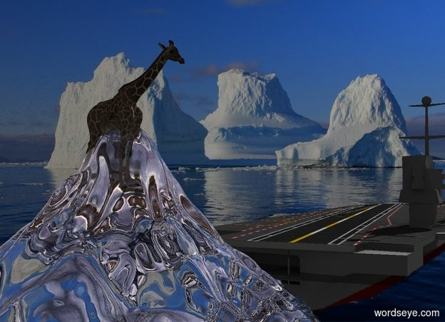 Input text: A giraffe is in a clear short mountain. It is facing west. Sea backdrop. A large ship is 5 feet in front of the mountain. It is -12 feet above the ground. Azimuth of the sun is 190 degrees. Camera light is silver. The sun is silver.