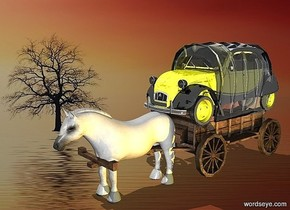 a 120 inch tall covered wagon.the top of the covered wagon is clear .sky is white.backdrop is fantasy.a 80 inch tall horse is -94 inch in front of the covered wagon.a 70 inch tall sports car is -75 inch above the covered wagon.the sports car is -240 inch in front of the covered wagon.the horse is -10 inch above the ground.an orange light is 40 inch right of the covered wagon.