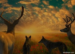sun is orange. Camera light is black.. Sun's azimuth is 225 degrees. Sun's altitude is 45 degrees. [sunrise] backdrop.  A coyote is 0 feet south of a deer and -.25 feet above ground. He is -.5 feet west of him.  A coyote is 1 feet west of him. He faces east.  2nd deer is -1 feet west of him. He faces east.