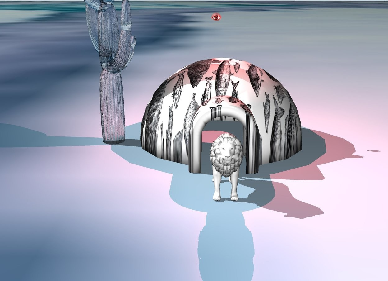 Input text: the igloo is huge art. a big glass cactus is next to the igloo. the red vermilion light is 3 foot above the igloo.  huge red eyeball is 3 foot above the igloo. the ground is image-11929. white lion is in front of the igloo.