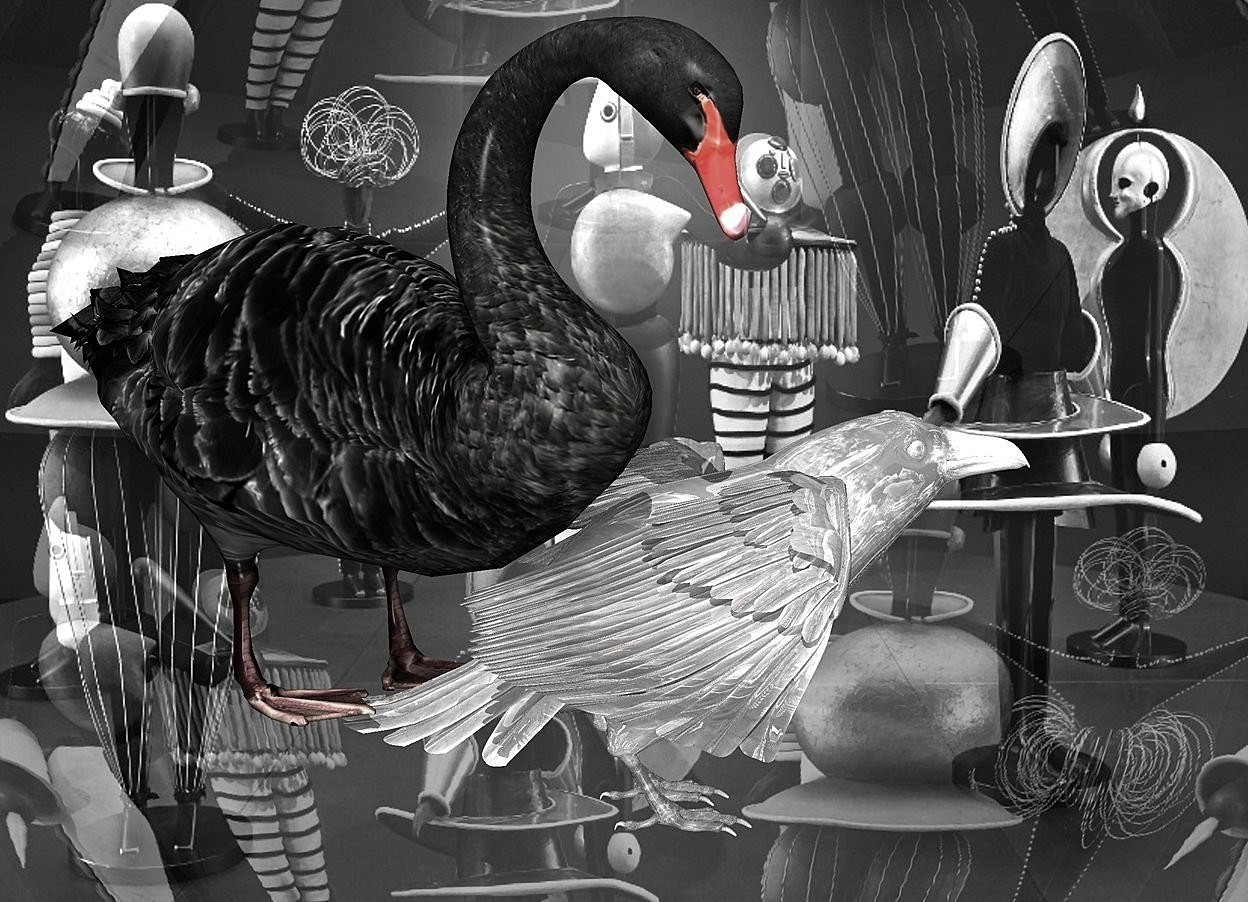 Input text: a 120 inch tall shiny white raven.backdrop is shiny [os2].sky is [os2].sky is 2500 feet tall and 3500 feet wide.a 180 inch tall  black swan is -80 inch above the raven.the swan is -320 inch in front of the raven.the swan is facing southwest.