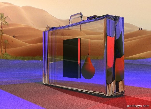 Input text:  a 100 inch tall clear  suitcase.six  blue lights are -5 inch above the suitcase.ground is 20 inch wide [asphalt].six maroon lights are -10 inch right of the suitcase.the maroon lights are -50 inch above the suitcase. a 50 inch tall book is -85 inches above the suitcase. a 30 inch tall pear is 5 inches right of the book.