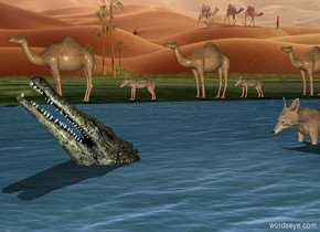 ground is [grass]. A camel is on the ground. A small lake is east of the camel. A crocodile is 30 feet east of the camel and -9 feet above the lake. He leans 45 degrees to the back. A jackal is -2 feet north of him. He is -1 feet above the ground. A jackal is 3 feet north of the camel. A camel is 1 feet north of him. A jackal is 12 feet north of him. A camel is 3 feet north of him.