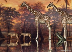 ground is silver. 1st giraffe is on the ground. A giraffe is -2 feet north of 1st giraffe. A crocodile is 2 feet east of him and -9 feet above the ground. He leans 45 degrees to the back. A jackal is 0 feet south of 1st giraffe. A jackal is 0.5 feet north of him.