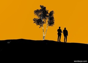 ground is black.sky is orange.a 200 inch tall black birch tree is 150 inch above the ground.a 80 inch tall black man is -5 inch right of the birch tree.the man is facing northeast.the man is -212 inch above the birch tree.a 80 inch tall black woman is -5 inch right of the man.the woman is facing north.the woman is -215 inch above the birch tree.