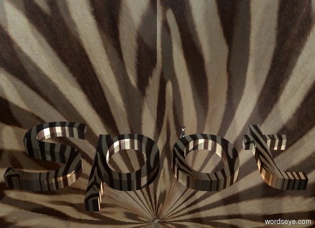 """Input text: Zebra backdrop is 50% shiny and 30% dark. Zebra """"Spot"""". Camera light is black. A light is in front of and right of the """"Spot"""". A light is behind the """"Spot"""". Zebra sky. A 4 inch high zebra is behind and -1 inch above the """"Spot""""."""