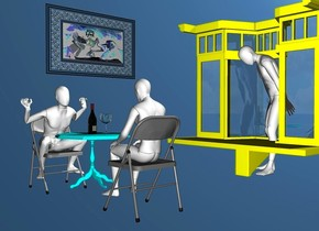 a 1st 100 inch tall white mannequin is -70 inch above a 1st 80 inch tall chair.the 1st mannequin is -40 inch in front of the 1st chair.backdrop is  forget me not blue.a 50 inch tall cyan table is in front of the 1st mannequin.a 2nd 100 inch tall white mannequin is 90 inch in front of the 1st mannequin.the 2nd mannequin is facing the 1st mannequin.a 2nd 80 inch tall chair is -115 inch above the 2nd mannequin.the 2nd chair is facing the 1st chair.a 30 inch tall wine bottle is on the table.a 20 inch tall wine glass is 5 inch left of the wine bottle.a 180 inch tall and 180 inch wide and 100 inch deep yellow window is 100 inch left of the 1st mannequin.the window is facing west.a 3rd 150 inch tall white mannequin is -110 inch right of the window.the 3rd mannequin is facing the 2nd mannequin.a 1st 50 inch tall and 80 inch wide petrol blue [picture frame] flat cube is 120 inch right of the window.the 1st cube is -80 inch above the window.a 2nd 26 inch tall and 54 inch wide flat  [sg] cube is behind the 1st cube.the 2nd cube is -38 inch above the 1st cube.