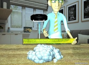 a 3 feet tall cauliflower is -2.6 feet above a [wood] table. a 3 feet long ruler is -1.7 feet behind and -.3 feet above and -4.55 feet left of the cauliflower. the ruler leans 70 degrees to the front. camera light is sky blue. a 2 feet tall lamp is -2.9 feet left of and -.58 feet above and -2.9 feet behind the cauliflower. the beam of the lamp is sky blue. a powder blue light is -5 inch above and -4 inch in front of the lamp. a man is -1.5 feet behind and -.3 feet right of the lamp. he is -.4 feet above the ground. backdrop is office. ambient light is igloo blue. sun is 30% dim