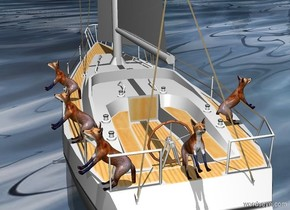 Sun's azimuth is 255 degrees. Sun's altitude is 90 degrees. ground is 1000 inch wide shiny [water]. Ground is 50% dark. [moon] sky.   The sailboat is -3 feet above the ground.  1st fox is -4 feet north of the boat. He faces north. 2nd fox is .8 foot east of him. He faces east. 3rd fox is 3 feet south of him and -2.5 feet east of him. He faces east. 4th fox is 3.5 feet west of him. He faces west.  5th fox is 8 feet south of 2nd fox and -2.25 feet east of him. He faces east.  Foxes lean 45 degrees to the back. They are -34.2 feet above the boat.