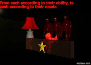 The  [scene]  backdrop. There is a devil on a black cliff. There are three devils. A shiny red imp is in front of the devils. There is a bright red lamp 2 feet left of the imp. There is a red light 2 feet left of the imp. It is dusk. There is a 2 foot tall and 10 foot wide red transparent stone wall in front of the imp There is a star shape in front of the wall.