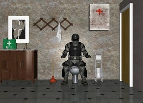 The man is -3 feet above the toilet. The man is -1.5 feet in front of the toilet. The 20 feet wide and 30 feet tall wall is behind the toilet. The ground is tile. A second wall is 10 feet to the left of the toilet. The second wall faces the toilet. A toilet paper dispenser is 1 feet to the right of the toilet. A plunger is 1 feet to the left of the toilet. The bathroom sink is 3 feet to the left of the toilet. There is a 2 feet wide window above the sink. There is a wall 40 feet in front of the toilet. There is first aid kit on the sink. A pill bottle is 0.5 feet in front of the first aid kit. There is a towel rack 1.5 feet above the plunger. The medicine chest is 2 feet above the toilet paper dispenser. There is a 20 feet long concrete wall 2 foot to the right of the toilet paper dispenser. The wall faces the toilet paper dispenser. There is a door 3.05 feet to the right of the man. The door faces the man.
