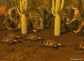 the sun is orange. Camera light is orange. It is morning. Sun's azimuth is 200 degrees.  A fox faces north. 3 large rocks are 1 foot south of him. They are -.5 feet above the ground.  A cactus is 0 feet north of  the fox. It is 7 foot east of the fox. 2nd cactus is 5 feet west of it. 3rd cactus is 3.5 feet west of it. A small turtle is 4 feet north of it. A small turtle is 1 feet west of it. A small turtle is 6 foot east of it. A small turtle is 2 feet north of 2nd cactus.  A small turtle is .5 foot west of it. Turtles face west.  A coyote is -.75 foot east of the 2nd cactus. He faces west. He leans 45 degrees to the back. A coyote is -.75 foot west of the 3rd cactus. He faces east. He leans 45 degrees to the back.