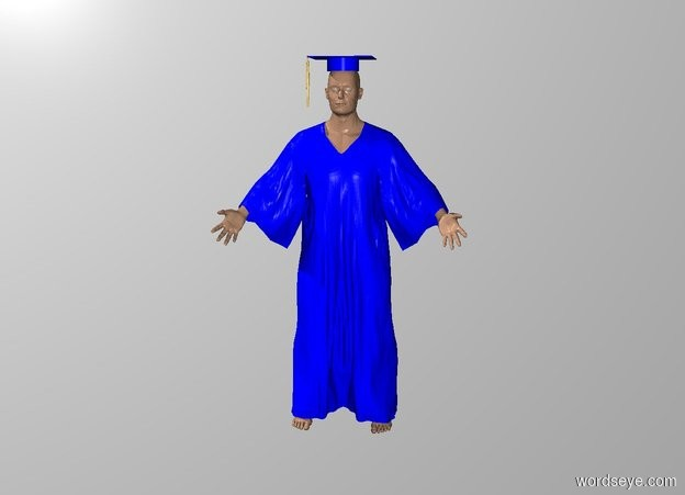 Input text: a container is solid blue. it is one foot wide and 1 foot deep and .4 feet tall. backdrop is white. a 2 foot wide and 2 foot deep blue square is -.01 foot above the container.  the container is -.2 foot above and -2.3 feet in front of a  big monk. the monk's robe is blue.  a gold head of hair faces back. it is 1.6 feet tall and .1 foot wide and .1 foot deep. it is in front of and -.1 foot left of and -1.6 feet above the square.