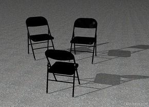 ground is asphalt.a 1st 50 inch tall black chair.the 1st chair is facing southeast.a 2nd 50 inch tall black chair is 20 inch right of the1st chair.a 3rd 40 inch tall black chair is 50 inch in front of the 2nd chair.the 3rd chair is facing north.azimuth of the sun is -130 degrees.altitude of the sun is 25 degrees.