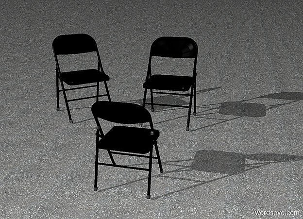 Input text: ground is asphalt.a 1st 50 inch tall black chair.the 1st chair is facing southeast.a 2nd 50 inch tall black chair is 20 inch right of the1st chair.a 3rd 40 inch tall black chair is 50 inch in front of the 2nd chair.the 3rd chair is facing north.azimuth of the sun is -130 degrees.altitude of the sun is 25 degrees.