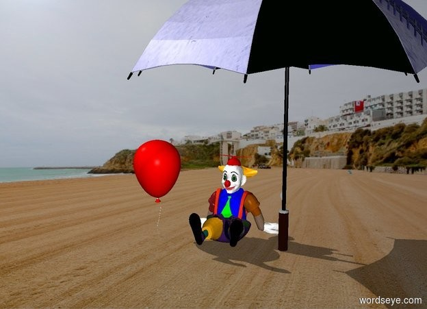 Input text: The small sitting clown is under the large beach umbrella.  The balloon is next to the clown .  The clown is sitting . The balloon is red.  The umbrella is blue .  .