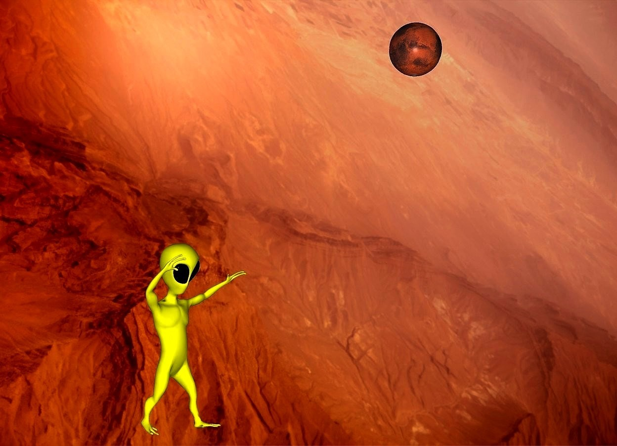 Input text: a 3000 inch tall flat mars.a 100 inch tall yellow alien is -200 inch above  the mars.the alien is 100 inch behind the mars.backdrop is mars.