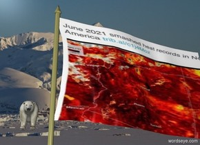 [North] backdrop. image-15894 flag. A polar bear is 20 feet behind and -1 foot above and left of the flag.