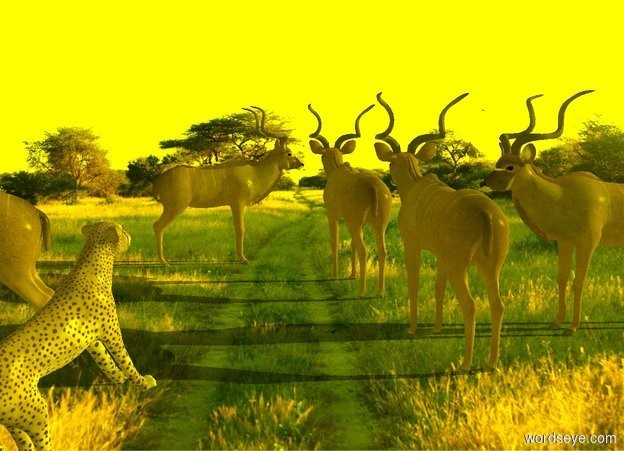 Input text: 1st kudu is on the ground. 2nd kudu is 2 foot behind him.   A kudu is 10 foot east of 2nd kudu. He faces east. A kudu is 0 foot west of 2nd kudu. He faces east. 4th kudu is 1 foot in front of 1st kudu and -1 feet east of him. He faces west. A cheetah is 21 feet north of him and -12.5 foot west of him. He leans 30 degrees to the back. He faces southwest. [Africa] backdrop. Sun's altitude is 20 degrees. Camera light is black. Ambient light is yellow. Sun is yellow.