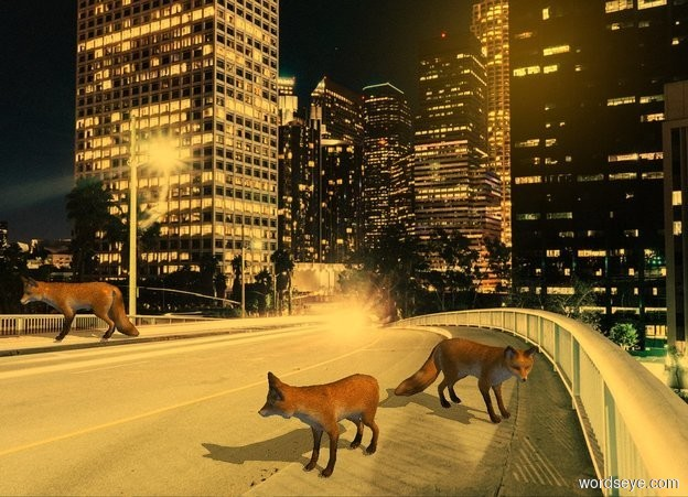Input text: [night] backdrop. Sun's altitude is 45 degrees. Camera light is black. Sun is orange. Sun's azimuth is 90 degrees. Ambient light is gray.  2nd tan fox is 0 feet above the ground. 1st tan fox is -1 feet east of him and 1 feet north of him. He faces east. 3rd tan fox is 6.8 feet west of him and 0 feet south of him. He faces southwest.