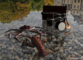 image-15898 backdrop. A 10% shiny lobster is behind a large crab. Shadow plane. Camera light is black. A light is above and 2 feet left of the lobster. Altitude of the sun is 30 degrees. A tiny drum kit is left of the crab. A tiny guitar is -5 inch left of the drum kit. It is facing north. It is leaning back. A tiny keyboard is -1 foot left of and 6 inch in front of the drum kit. It is facing northeast. Azimuth of the sun is 240 degrees. Sun is silver. The crab is on a humongous clear sheet. Sky is 75% dark.
