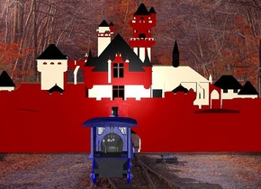 a 130 feet tall and 250 feet wide flat shiny maroon castle.sky is black.backdrop is shiny.a 40 feet tall blue train is in front of the castle.the train is facing north.