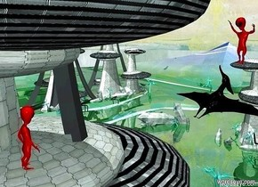 The  [scene]  backdrop. sun is sea mist blue. it is noon. a maroon alien. a 2nd maroon alien is 17 feet in front of and 2 foot above the alien. it faces the alien. a big black pteranodon is beneath and behind the alien.