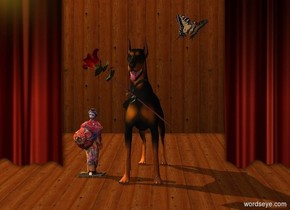A dog is in a theatre. A large woman is 6 inch left of the dog. A large butterfly is above and right of the dog. It leans 50 degrees to the back. It faces southeast. Sun is lemon. An amber light is left of and above the dog. Camera light is brown. A baby blue light is 2 feet in front of and above the woman. A large rose is -8 inch above and -2 inch right of and 1 foot in front of the woman. It is leaning 50 degrees to the right.