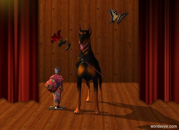 Input text: A dog is in a theatre. A large woman is 6 inch left of the dog. A large butterfly is above and right of the dog. It leans 50 degrees to the back. It faces southeast. Sun is lemon. An amber light is left of and above the dog. Camera light is brown. A baby blue light is 2 feet in front of and above the woman. A large rose is -8 inch above and -2 inch right of and 1 foot in front of the woman. It is leaning 50 degrees to the right.