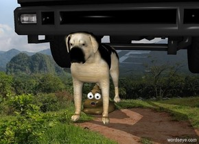 The poop is below the dog . There is a truck behind the dog.