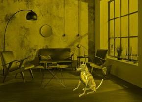 a [vi] backdrop.a 100 inch tall shiny 30% dim  yellow dog.sky is 3000 feet tall.