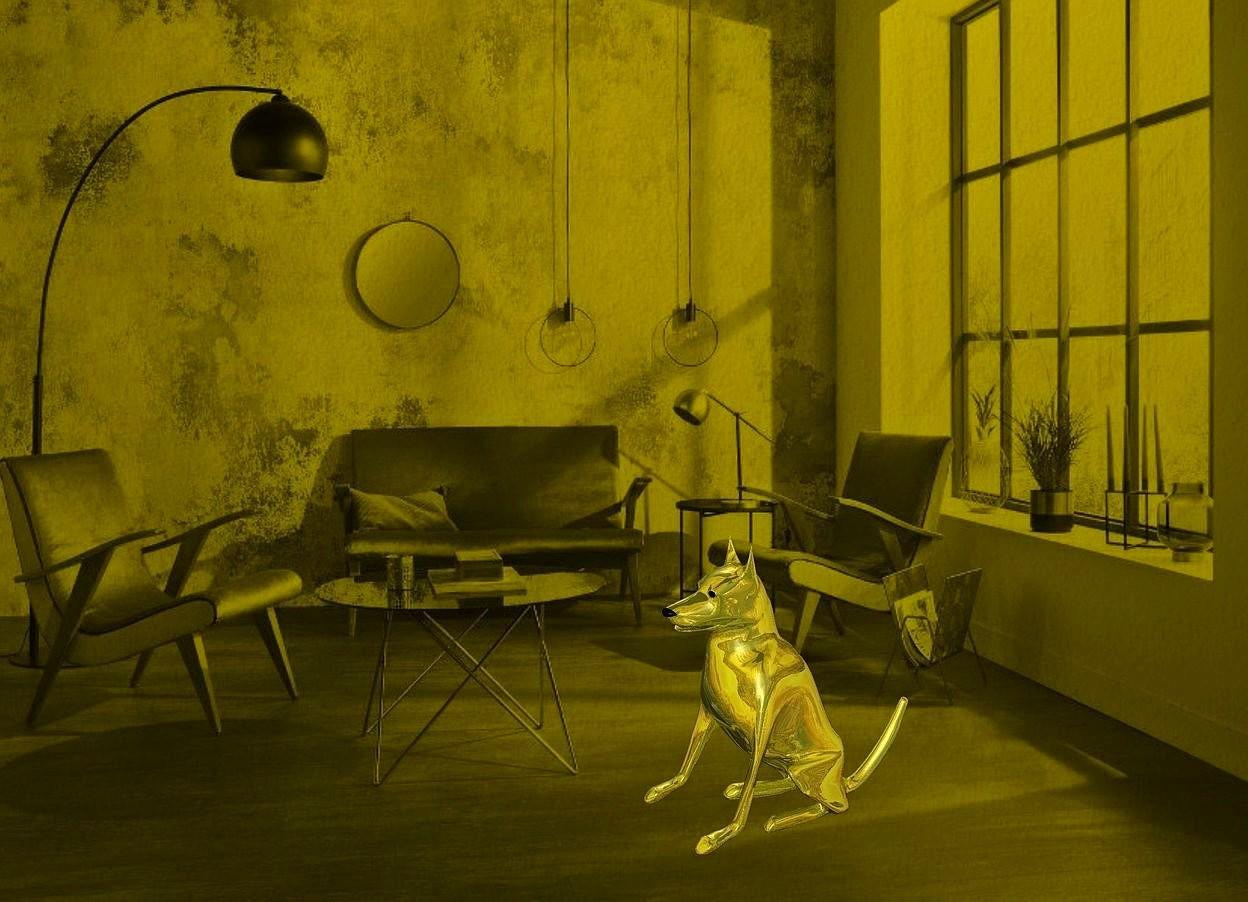 Input text: a [vi] backdrop.a 100 inch tall shiny 30% dim  yellow dog.sky is 3000 feet tall.