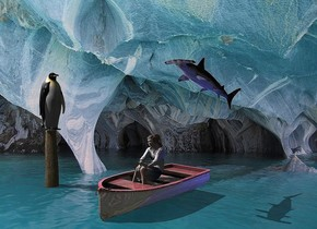 Cave backdrop. A penguin is on a large log. It is facing southeast. Camera light is black. A light is left of and above and in front of the penguin. A 20% shiny boat is 2 feet right of and in front of the log. It is facing southwest. A navy light is right of the boat. Sun is pink. A fish is 3.5 feet above and -4 feet right of the boat. It is leaning back. It is facing southwest. A woman is -1.7 foot above the boat. She is leaning 10 degrees to the back. She is facing southwest. Altitude of the sun is 60 degrees.