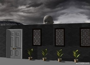 a 10 foot tall storefront faces right. camera light is black. a light is 10 feet left of and in front of the storefront. an 13 foot tall pale person is behind the storefront. sun's azimuth is 270 degrees. a huge white wall is 30 feet in front of the storefront.