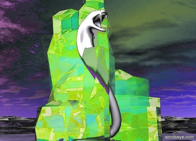 Input text: a 10 foot tall crystal. a snake is solid white. it is 8 feet tall. it is -7 feet in front of the crystal. ground is shiny. camera light is black. a ghost white light is 10 feet left of and above the snake.a light is 10 feet in front of the crystal. a linen light is 1 foot above the ground. it is -2 feet left of the crystal.