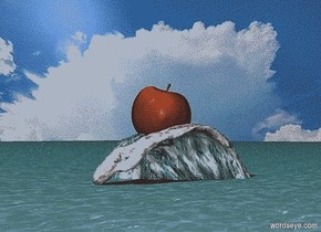 ocean. sky is cloud.ground is invisible.backdrop is  cloud.sky is 10000 feet tall and 3000 feet wide.a huge wave is -30 inch above the ocean.a 100 inch tall apple is -30 inch above the wave.