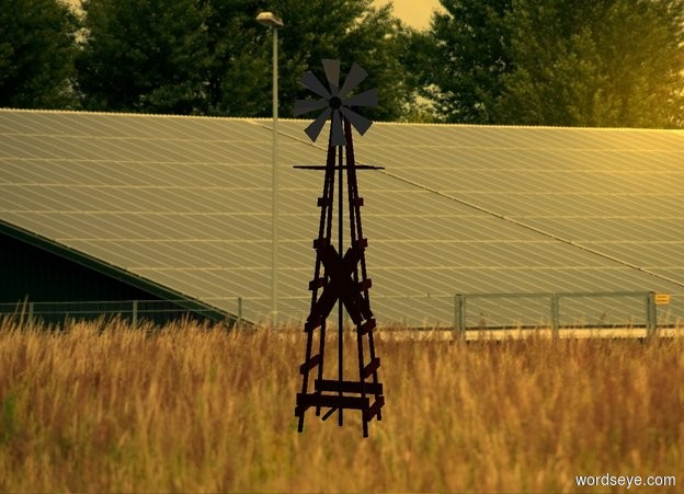 Input text: [fence] backdrop. [fence] sky. Sun's altitude is 25 degrees. Camera light is black. Sun is orange. Sun's azimuth is 90 degrees. Ambient light is gray.  A windmill is on the ground.