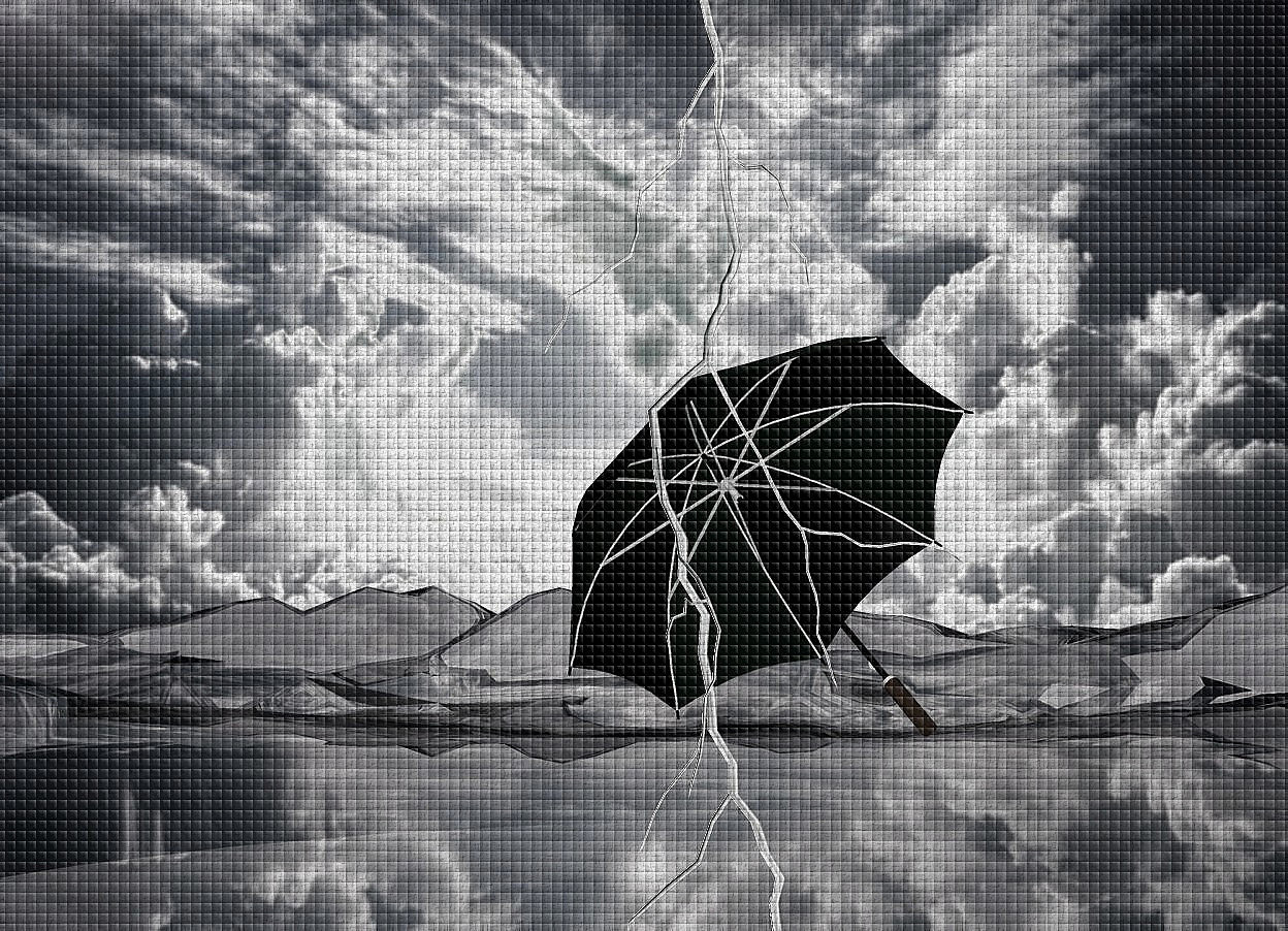 Input text: Backdrop is  [cloud].ground is visible and  20% dim shiny.ground is 900 inch wide  [cloud].ground is 40 feet tall.sun is pink.a 200 inch tall black umbrella is on the ground.the umbrella leans 50 degrees to northeast.a 400 inch tall white lightning bolt is in front of the umbrella.camera light is gray.