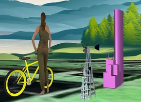 ground is green.ground is [street].a 1st 500 inch tall and 150 inch wide and 50 inch deep violet  tube is 250 inch above the ground.a 200 inch tall and 160 inch wide and 80 inch deep violet tower is right of the 1st tube.a 1st 150 inch tall shiny moonlight blue windmill is 300 inch right of the tower.a 400 inch tall flat woman is 200 inch in front of the 1st windmill.the woman is facing south.a 2nd 250 inch tall  moonlight blue windmill is left of the 1st windmill.a 200 inch tall yellow bicycle is in front of the woman.the wheel of the bicycle is yellow.the bicycle is facing west.