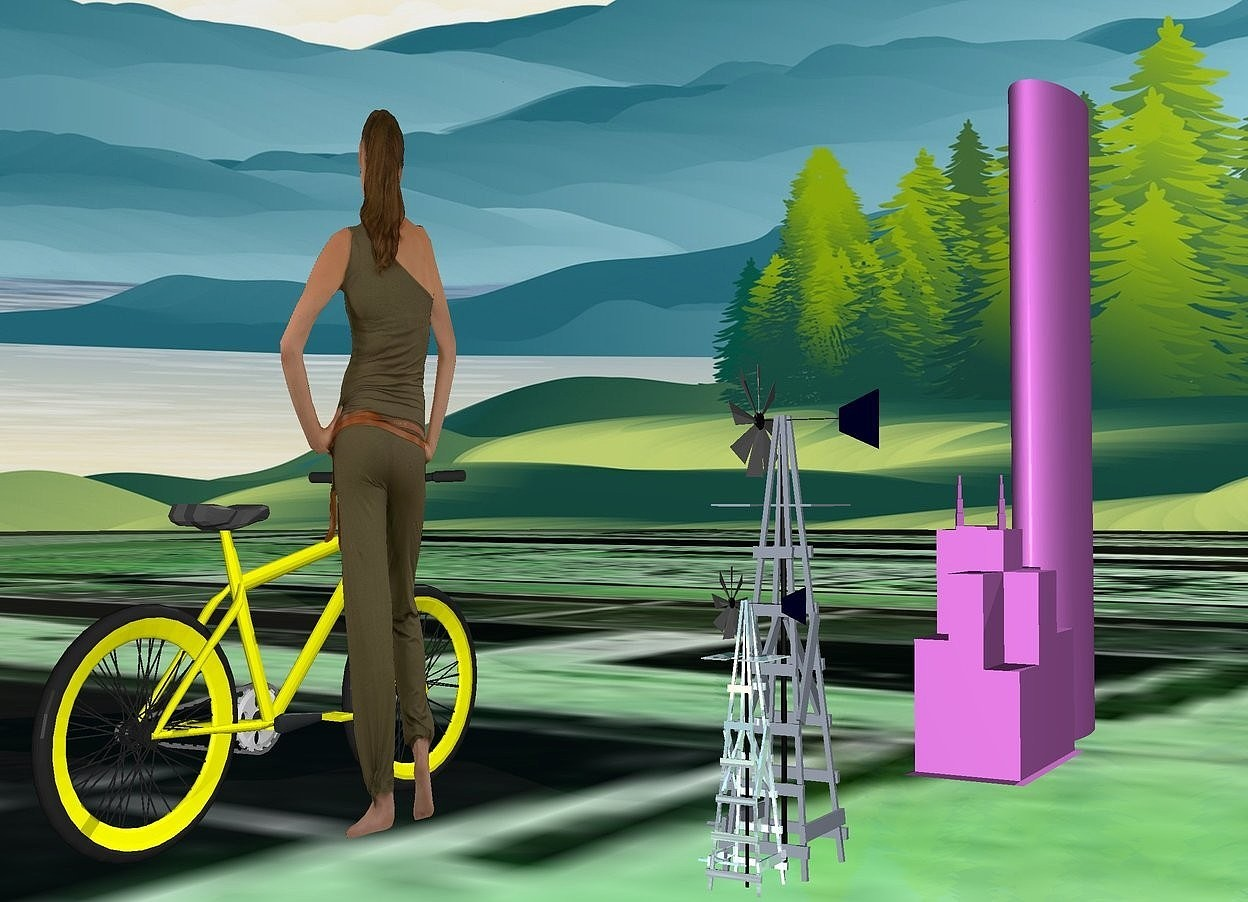Input text: ground is green.ground is [street].a 1st 500 inch tall and 150 inch wide and 50 inch deep violet  tube is 250 inch above the ground.a 200 inch tall and 160 inch wide and 80 inch deep violet tower is right of the 1st tube.a 1st 150 inch tall shiny moonlight blue windmill is 300 inch right of the tower.a 400 inch tall flat woman is 200 inch in front of the 1st windmill.the woman is facing south.a 2nd 250 inch tall  moonlight blue windmill is left of the 1st windmill.a 200 inch tall yellow bicycle is in front of the woman.the wheel of the bicycle is yellow.the bicycle is facing west.
