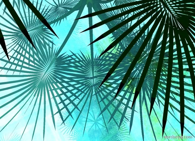 Input text: A palm is -20 feet above the 20 foot tall 100% shiny [jungle] cube. Camera light is teal.