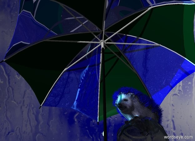 Input text: A blue hedgehog. Blue pattern backdrop. Azimuth of the sun is 10 degrees. The hedgehog is on a large jar. The jar is upside down. A shiny navy umbrella is -1 foot in front of the jar. Camera light is black. A light is 4 feet in front of the jar. A cyan light is 2 feet left of and above the light.