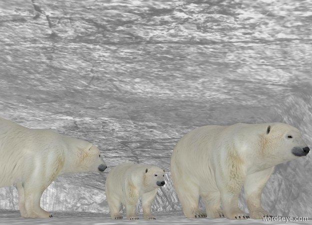 Input text: A polar bear is -18.7 feet above a 20 foot tall white rock. He faces north. A small polar bear is 2 feet east of him. He faces north. A polar bear is 1 foot south of him and -1 foot east of him. He faces west. It is night. Camera light is dark. Ambient light is white.